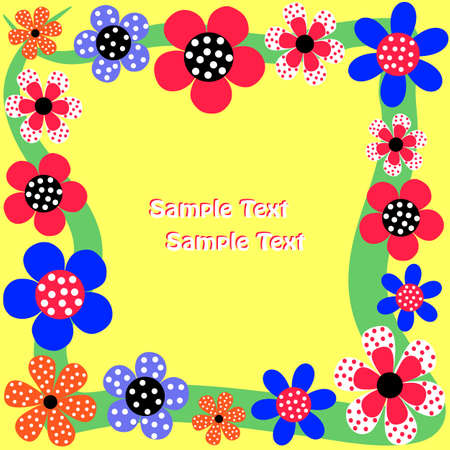 Bright framework for text decorated with flowers Vector