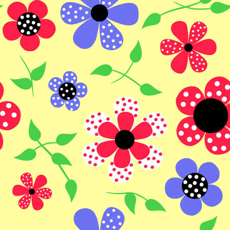 Bright floral decorative seamless background Vector