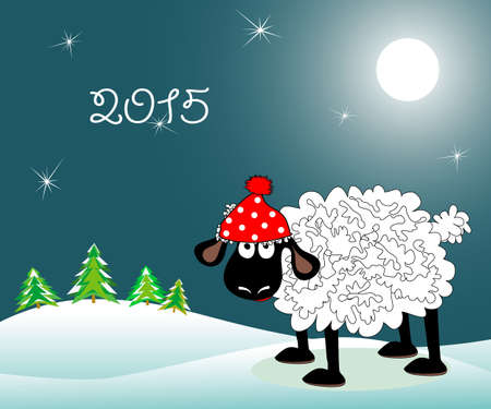 amusing: The amusing lamb in a red cap costs on the hill at night under the moon. Symbol of 2015