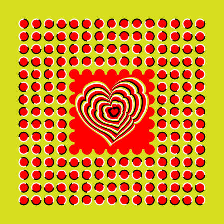 pulsing: Abstract background executed in the form of fluctuating red polygons and heart. Optical illusion of movement.