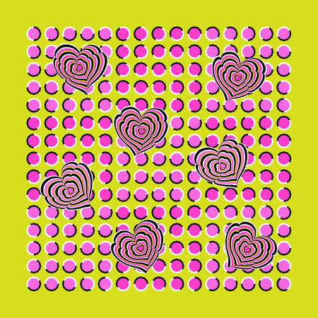 pulsing: Abstract background executed in the form of fluctuating pink and lilac polygons and hearts. Optical illusion of movement. Illustration