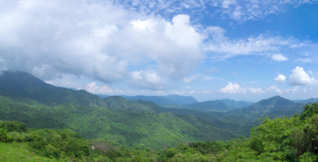 green mountains and blue sky panorama