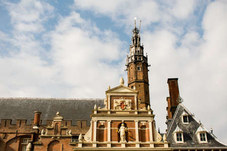 Beautiful Ancient Buildings in Haarlem City Center in the Netherlands.