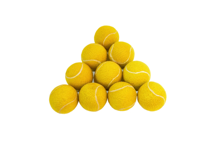 Tennis balls isolated on white background and arranged in a triangular shape