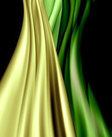 shinning: Shiny yellow and green curtain or clothes on black background. Stock Photo