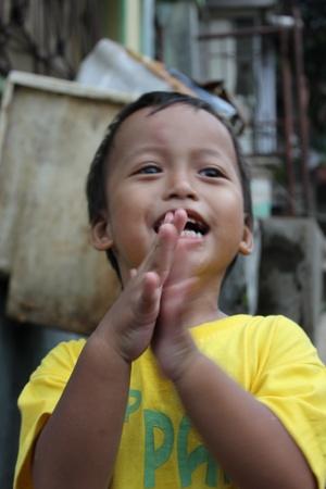 Cute children cheers happily