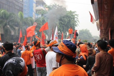 revitalization: Traders held a demonstration to reject the plan of the shop revitalization in a station in Jakarta.