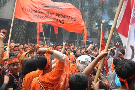 Traders held a demonstration to reject the plan of shops revitalization in Cikini Station, Central Jakarta.