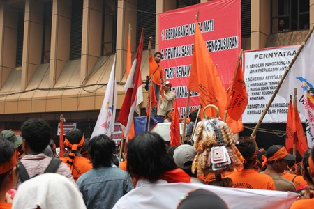 Jakarta, Indonesia, 14 February 2012 - Traders held a demonstration to reject the plan of the shops revitalization in Cikini Station, Central Jakarta. Stock Photo - 12256157
