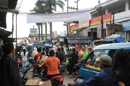 Jakarta, Indonesia, 3 March 2012 - Traffic jam in suburbs of Jakarta.
