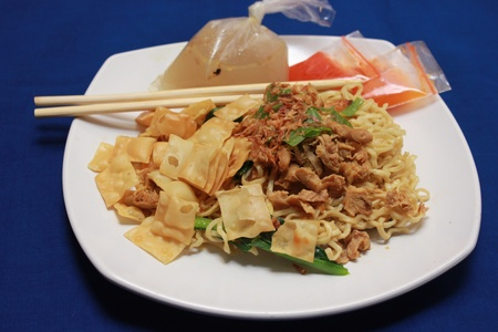 Indonesian noodles food with chicken stew