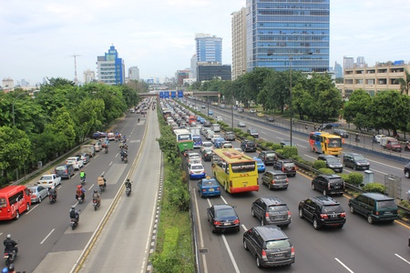 toll: Jakarta, Indonesia, 20 March 2012 - Traffic jam in toll road of Jakarta. Editorial
