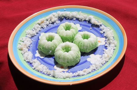 Indonesian food is known as putri ayu, cake made from rice flour and grated coconut  Stock Photo