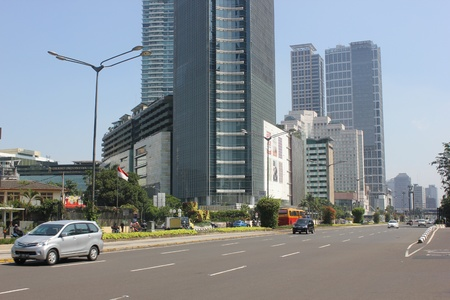 Jakarta, Indonesia, 27 March 2012 - Traffic on the main road Jakarta.