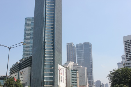 Jakarta, Indonesia, 27 March 2012 - Office buildings in downtown central business Jakarta.