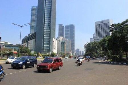 Jakarta, Indonesia, 27 March 2012 - Traffic on the main road Jakarta. Stock Photo - 12848831