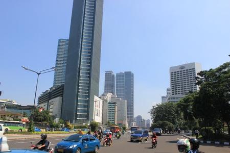 Jakarta, Indonesia, 27 March 2012 - Traffic on the main road Jakarta. Stock Photo - 12848832