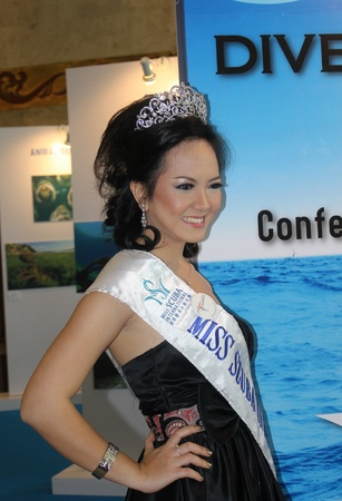 Jakarta, Indonesia, 29 March, 2012 - Miss Scuba Indonesia 2011, Nendy Yunizar, at the opening of the Deep Indonesia 2012, international diving, adventure travel and water sports exhibition. Stock Photo - 12904059