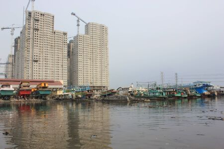 Jakarta, Indonesia, April 1, 2012 - Some of the boats docked at the port of Muara Angke, Jakarta. Editorial