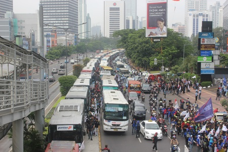 Jakarta, Indonesia, 1 May 2012. Thousands Indonesian workers held rally in Labor Day, demanding better wages.