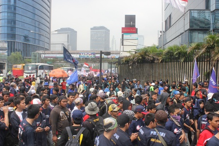 Jakarta, 1 May 2012 - Thousands Indonesian workers held rally in Labor Day, demanding better wages and social welfare.