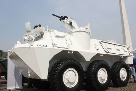 Jakarta, Indonesia, 8 October 2012; APCs at the Indonesian Army primary weapons defense system�s exhibition at the National Monument (Monas) area in Central Jakarta.