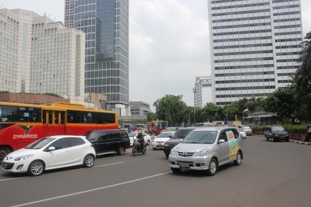 Jakarta, November 22, heavy traffic in downtown Jakarta Stock Photo - 16742722