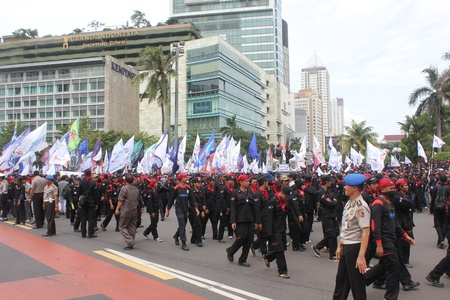 Jakarta, 6 February 2013, Thousands of workers held a rally to protest against delay minimum wage increase in Jakarta Editorial