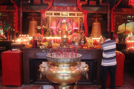 Chinese community pray in Dhanagun temple, Bogor, West Java, Indonesia, on Lunar New Year, February 10th, 2013. Editorial