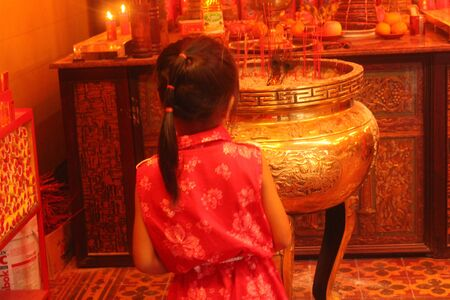 Bogor, Indonesia, 10 February 2014, Chinese community praying in Dhanagun Temple on Lunar New Year celebration.