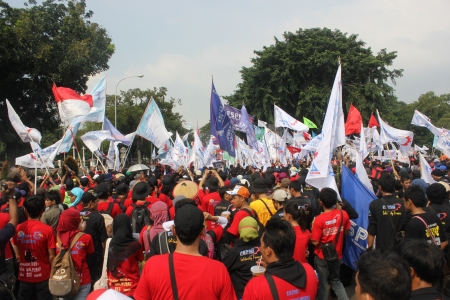 marched: Jakarta, Indonesia, May 1, 2013 - Thousands of workers marched to the Presidential Palace on May Day.