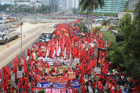 marched: Thousands of workers marched Labor Day in Jakarta, May 1, 2014