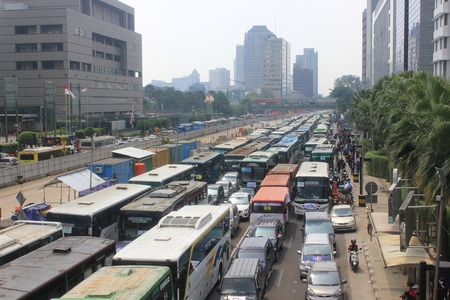 Traffic jam in downtown Jakarta on May Day, May 1, 2014