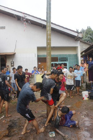 traditional climbing: Areca tree-climbing race to commemorate Indonesian independence day, August 17, 2014