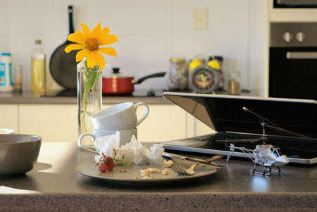 Messed up Kitchen table has a plate with leftover food, fork, knife, tissues along side side laptop computer, toy helicopter, bowl, cups on top of another, sunflower in a vase. In the background are alarm clock, cooking pot, oil bottle, cooking pan, oven,