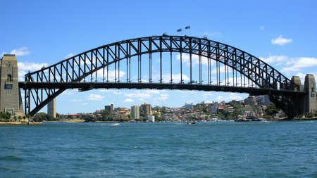 Sydney Harbour Bridge as seen from Circular Quay in Sydney Australia. Major Australian landmark and tourist destination.