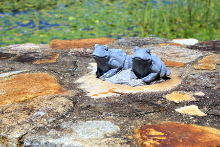 Garden Statues Of Pair Of Frogs. Terracotta Figures Of Frogs Sitting On  Stone Wall.