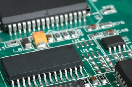 printed circuit board: Carte de circuit imprim� avec des puces