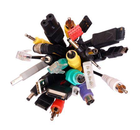 conectores: Aislado de los enchufes y conectores Foto de archivo