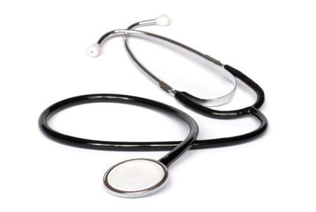 Black stethoscope isolated on white background Stock Photo - 3869563