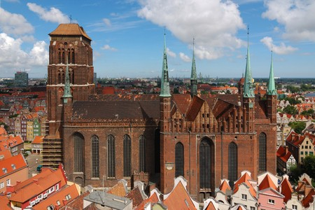gdansk: Old cathedral in Gdansk (Poland) seen from City Hall tower Stock Photo