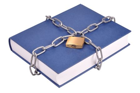 Book, chain and padlock isolated on white Stock Photo - 4882389