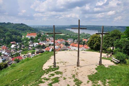 kazimierz: Kazimierz Dolny in Poland, view from the Three Crosses Hill