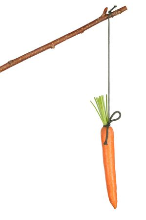 Fresh red carrot hanging on white background photo