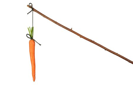 Fresh red carrot hanging on white background Stock Photo