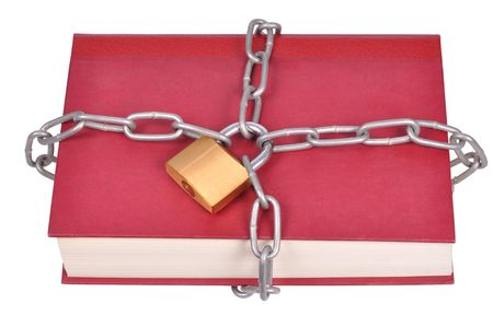 Book, chain and padlock isolated on white Stock Photo - 5959476