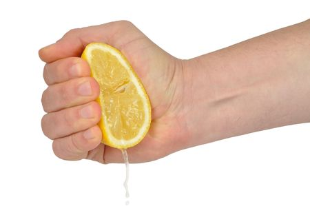Hand squeezing lemon isolated on white Stock Photo