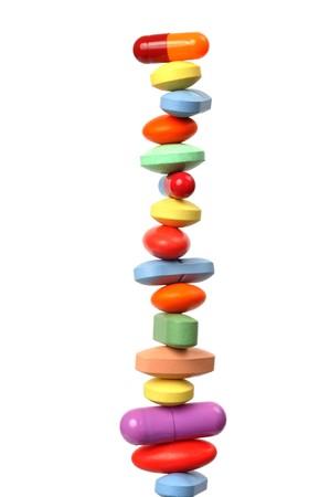 Macro of pills stack isolated on white background Stock Photo
