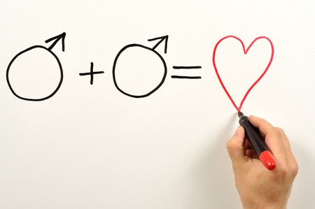 Two male symbols and heart shape used in a formula Stock Photo