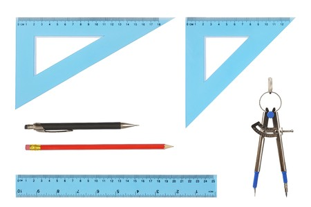 Set of geometry tools isolated on white